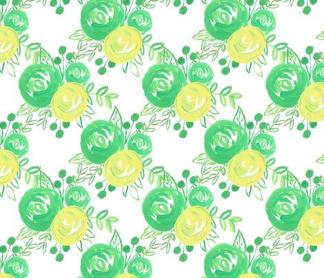 lemon lime roses  fabric by smallhoursshop on Spoonflower - custom fabric