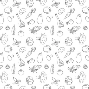 Vegetables doodle black & white pattern