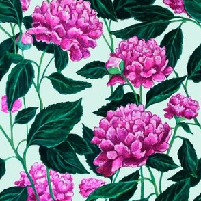 Peony Pattern Teal
