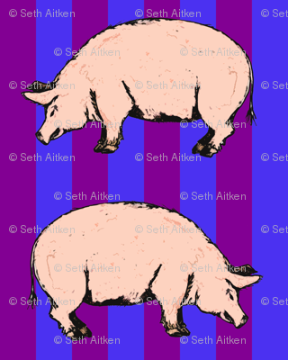 Pink Pigs on Purple and Blue Stripe