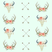 Mint Antlers and Bull Skull | Woodland Watercolor