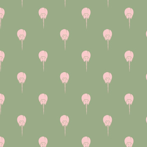 Horseshoe_Crabs_-_pink_on_green