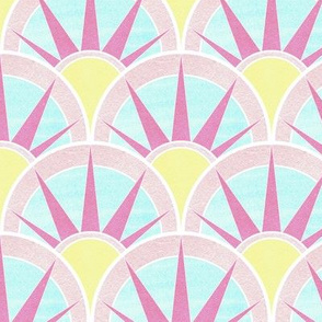 Fancy Art Art Deco Fan in Yellow and Pink Pastels