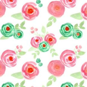 pink green watercolor flowers