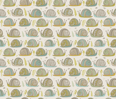 Snails Aqua Citron fabric by teresamagnuson on Spoonflower - custom fabric