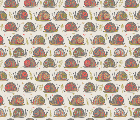Snails Orange fabric by teresamagnuson on Spoonflower - custom fabric