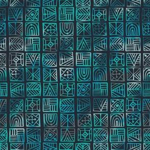 Teal Geometric Batik