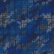 Blue Geometric Batik