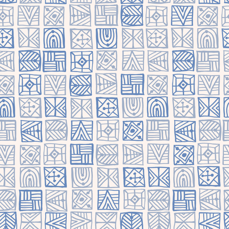 Blue Geometric Tribal fabric by teresamagnuson on Spoonflower - custom fabric
