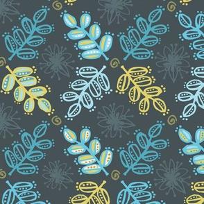 Leafy Sprigs Denim Blue