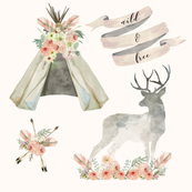 Wild and Free Blush | Woodland Watercolor