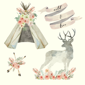 Wild and Free Cream | Woodland Watercolor