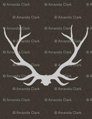 Antlers - Dark Brown linen