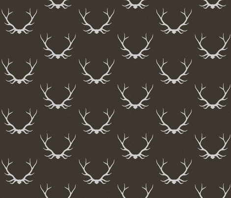 Antlers - Dark Brown linen fabric by sugarpinedesign on Spoonflower - custom fabric