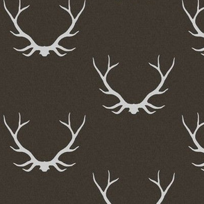 Antlers - Dark Brown linen