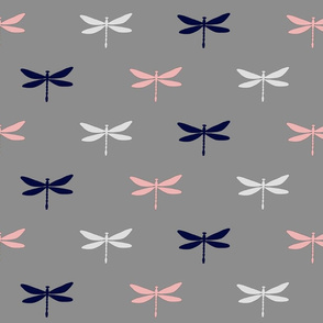 Dragonfly - pink, navy, white on grey