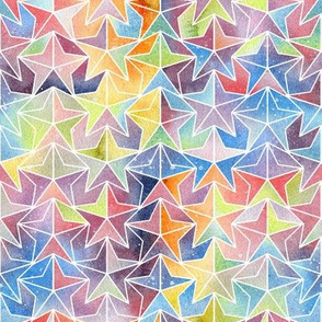 Tiled Stars -  Watercolour