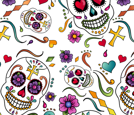 Calaveras Celebration - white  fabric by designergal on Spoonflower - custom fabric