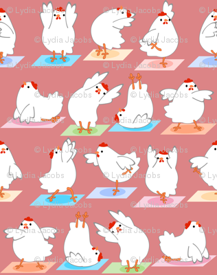 Chicken Yoga on Pink