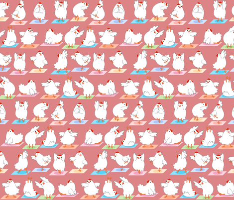Chicken Yoga on Pink fabric by lyddiedoodles on Spoonflower - custom fabric