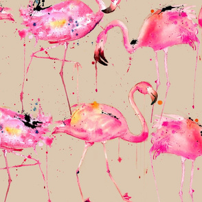 flamingo repeat on beige