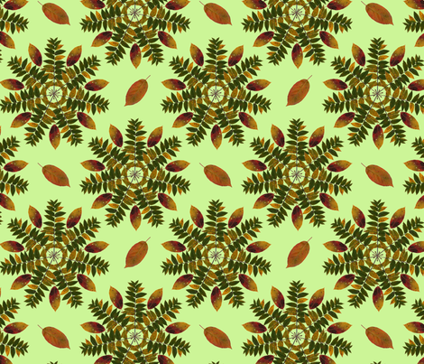 walnut_and_persimmon_mandala_green fabric by leroyj on Spoonflower - custom fabric