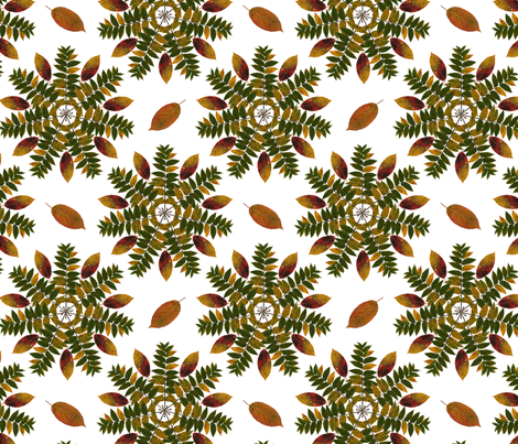 walnut_and_persimmon_mandala_white fabric by leroyj on Spoonflower - custom fabric
