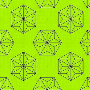 Asanoha Hexagons (Green Lemon)