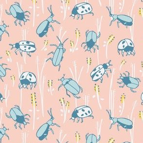 Bugs in pink and blue