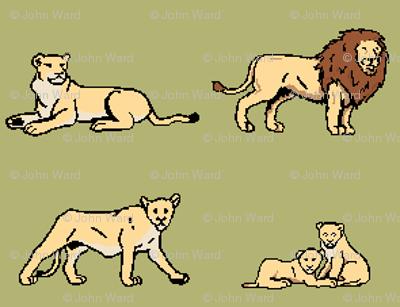 Lion Family Green