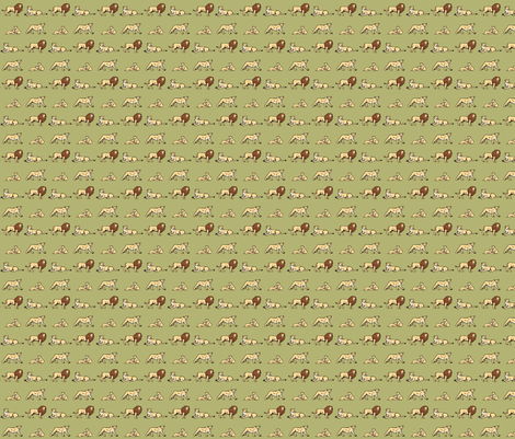 Lion Family Green fabric by wren_2_0 on Spoonflower - custom fabric