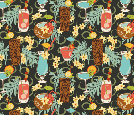 Blue Hawaii - Small fabric by fernlesliestudio on Spoonflower - custom fabric