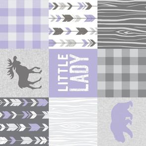 Little Lady - Lilac and Grey w Moose, Arrows, Plaid, and woodgrain