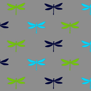 Dragonflies - navy, lime, grey, and bright blue dragonfly