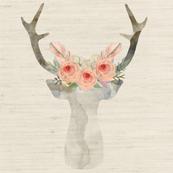 Deer Antlers Flowers Linen | Woodland Watercolor