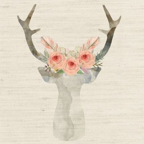 Deer Antlers Flowers Linen | Woodland Watercolor