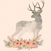 Deer Silhouette Flowers Coral | Woodland Watercolor
