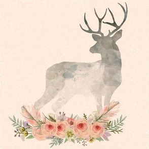 Deer Silhouette Flowers Coral | Woodland Watercolor