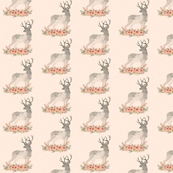 Deer Silhouette Flowers Small | Woodland Watercolor