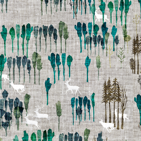Fable Deer Forest fabric by nouveau_bohemian on Spoonflower - custom fabric