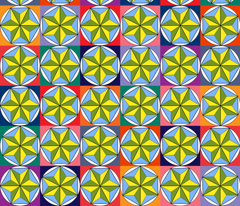 Sonoma_Spring_geodesic_patchwork fabric by tangledvinestudio on Spoonflower - custom fabric
