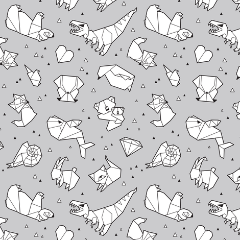 Paper animals fabric by penguinhouse on Spoonflower - custom fabric