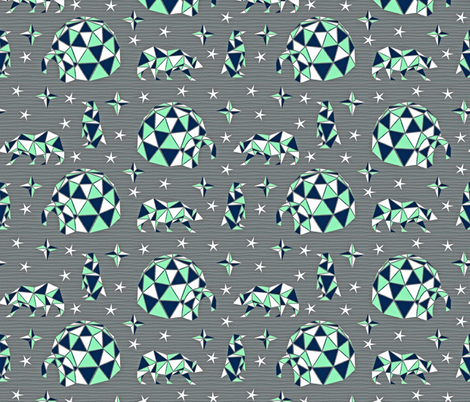Geodesic Arctic Igloos fabric by cherishedminky on Spoonflower - custom fabric