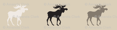 Big Moose - midnight Woodland - tan, ivory and black