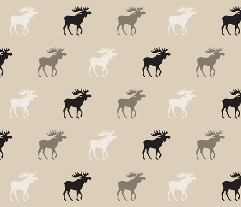 Big Moose - midnight Woodland - tan, ivory and black fabric by sugarpinedesign on Spoonflower - custom fabric