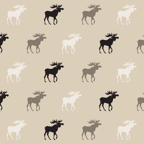 Big Moose - midnight Woodland - tan, ivory and black