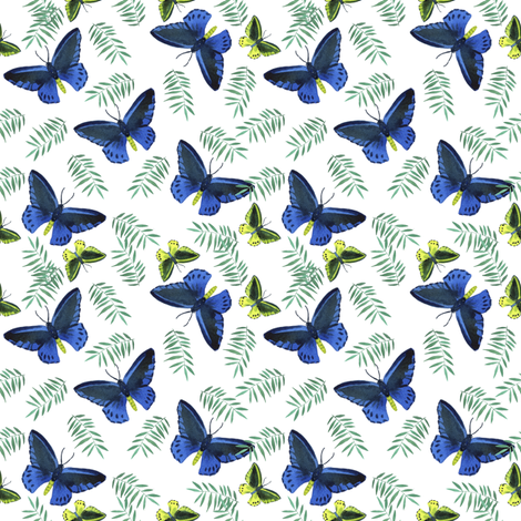 Blue tropic fabric by ivankacostru on Spoonflower - custom fabric
