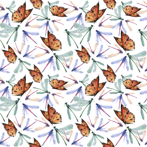 Dragonfly and butterfly fabric by ivankacostru on Spoonflower - custom fabric
