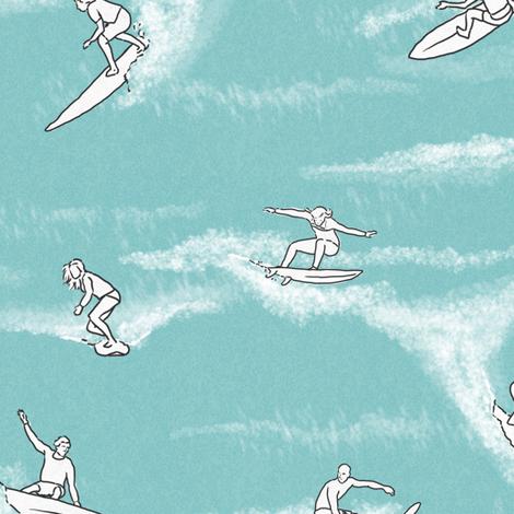 Surfers on Light Blue fabric by landpenguin on Spoonflower - custom fabric