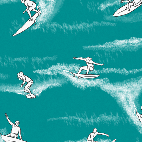 Surfers on Turquoise fabric by landpenguin on Spoonflower - custom fabric